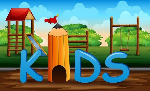 De kids-letters op de achtergrond van de speeltuin