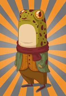De kikker heer stijlvol gekleed in een sjaal bij koel weer ging wandelen in de tuin met