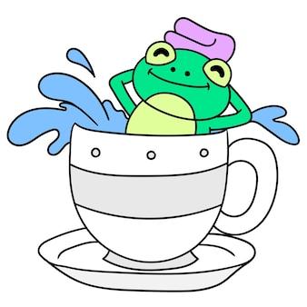 De kikker neemt een warm bad in een kopje, doodle draw kawaii. vector illustratie kunst