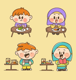 De kinderen jongen en meisje eten en spelen thuis doodle sticker illustratie