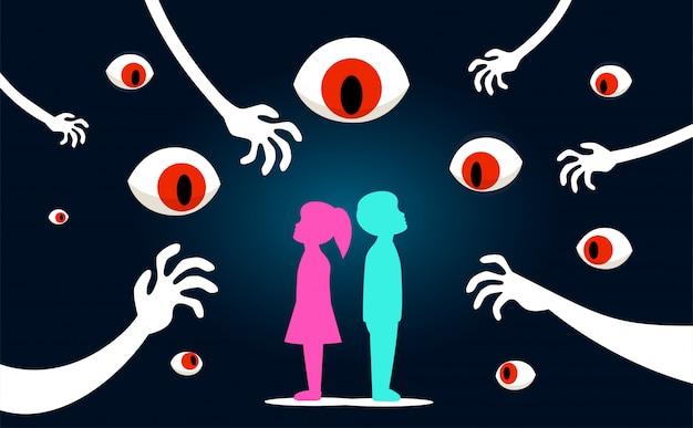 De kinderen met enge ogen kijken naar hen