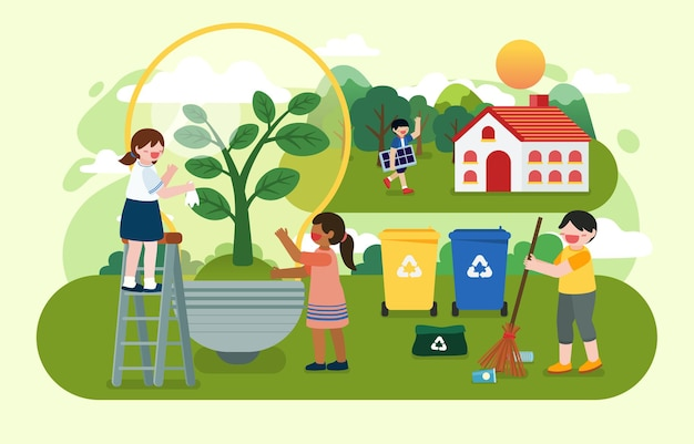 De kinderen planten bomen en gebruiken duurzame energie uit de natuur met zonne-energie van zonnepaneel en windturbine