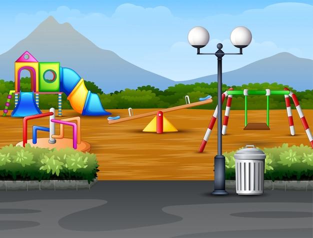 De kinderenspeelplaats van het beeldverhaal stedelijke park op de aardachtergrond