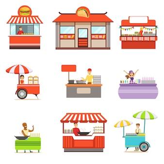 De kiosk van het straatvoedsel op wielen wordt geplaatst en zonder met glimlachende verkoper die fast food-vectorillustraties dienen