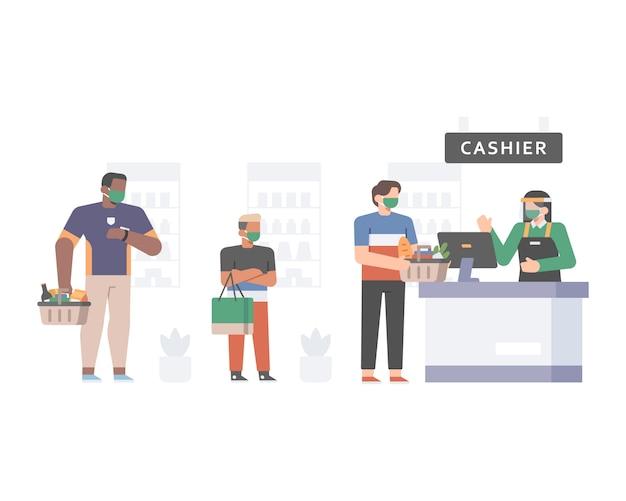 De klant staat in de rij bij de kassamedewerker van de supermarkt terwijl hij het veiligheidsprotocol toepast door sociale afstand te doen en gezichtsmaskerillustraties te dragen