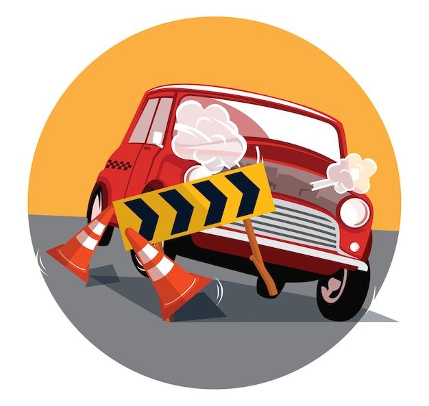 De kleine auto verplettert een verkeersteken en vergaan