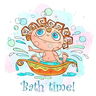 De kleine baby wordt gebaad. tijd om te baden