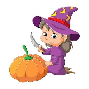 De kleine heks houdt het mes vast en snijdt de pompoen van illustratie