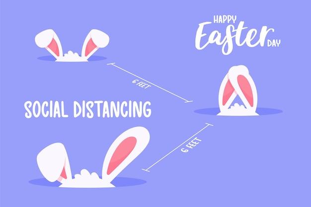 De kleine konijnenoren die uit zijn boog kwamen het concept van quarantaine en sociale afstand.