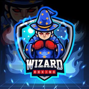 De kleine mascotte van het tovenaars in dozen doen. esport logo ontwerp