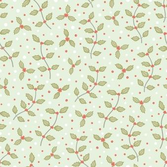 De kleine tak van de hulstboom en vectorachtergrond van het sneeuw de naadloze patroon