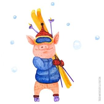 De kleine varken-skiër