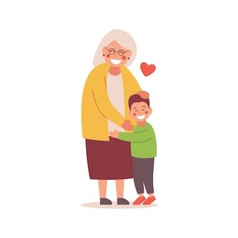 De kleinzoon omhelst zijn grootmoeder. illustratie.