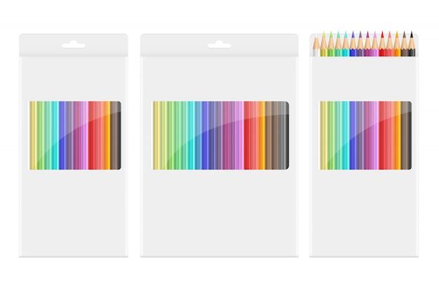 De kleurpotloden ontwerpen illustraion op witte achtergrond wordt geïsoleerd die