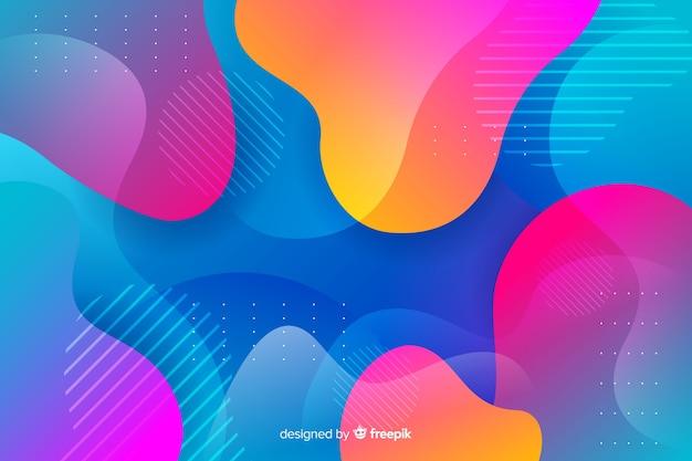 De kleurrijke achtergrond van gradiënt vloeibare vormen
