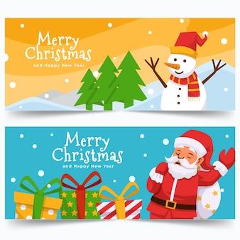 De kleurrijke banners van de kerstmisverkoop in vlak ontwerp