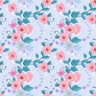 De kleurrijke bloesem bloeit vectorontwerp naadloos patroon.