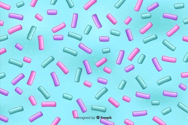 De kleurrijke doughnutglans met bestrooit mengsel op lichtblauwe achtergrond