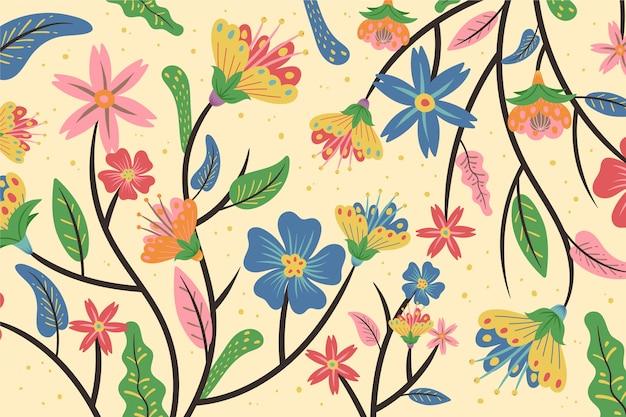 De kleurrijke exotische bloemenachtergrond van zalmschaduwen