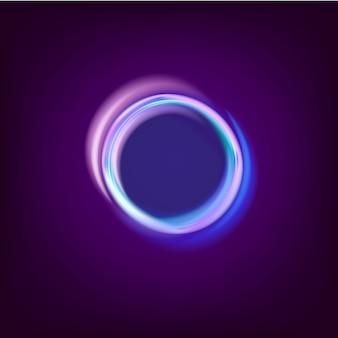 De kleurrijke gloeiende blauwe ringen vatten zwarte illustratie samen als achtergrond