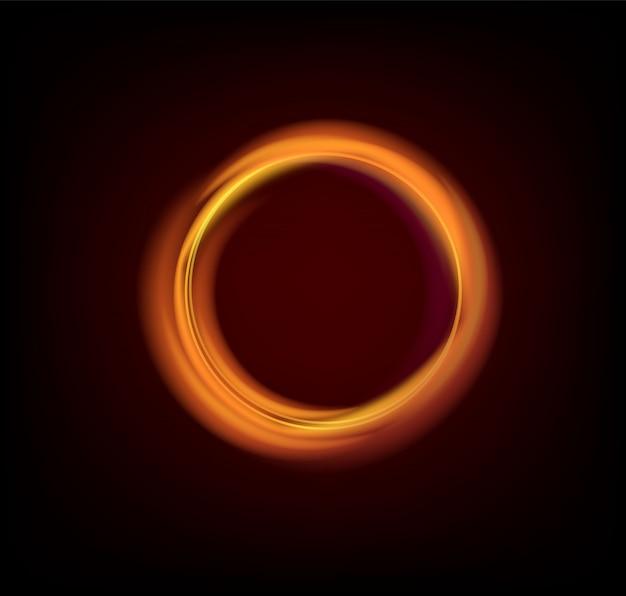 De kleurrijke gloeiende gouden ringen vatten zwarte illustratie samen als achtergrond