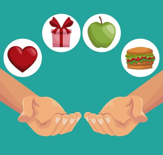 De kleurrijke handen die van de afficheclose-up gezonde voedselgiften houden