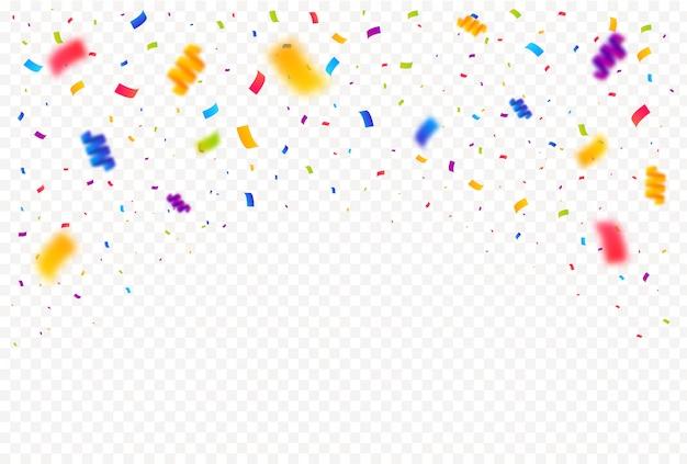 De kleurrijke heldere confettienstukken isoleerden witte achtergrond.