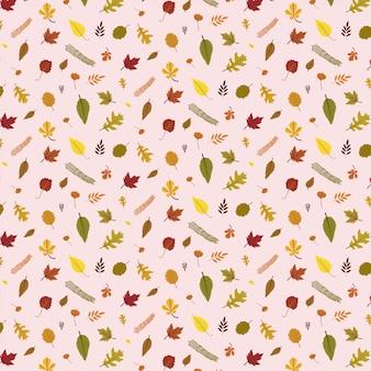 De kleurrijke herfst verlaat patroon dat op roze achtergrond wordt geïsoleerd