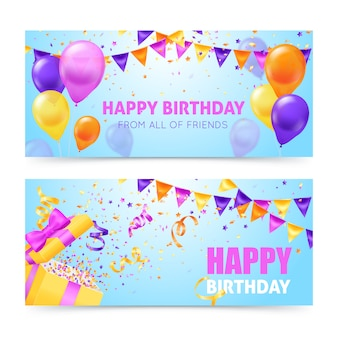 De kleurrijke horizontale banners van de verjaardagspartij met baloons slingers en confettien vlakten geïsoleerde vectorillustratie