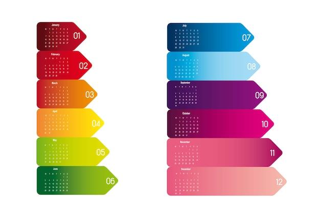 De kleurrijke kalender van 2013 die over witte vector wordt geïsoleerd als achtergrond