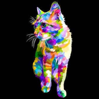 De kleurrijke kat zit kijkend aan kant