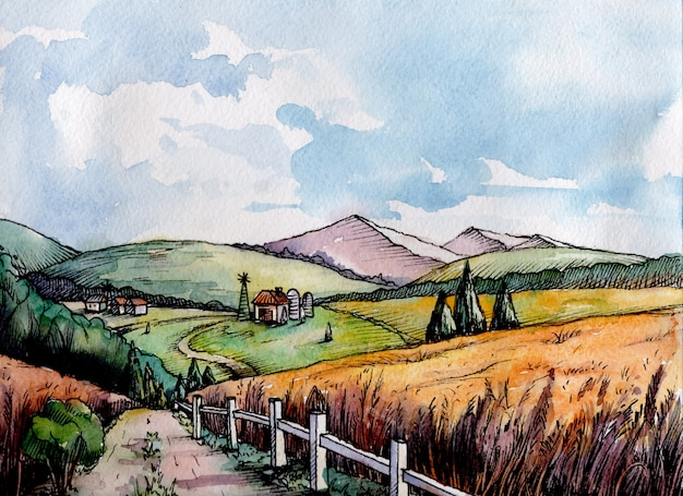 De kleurrijke landelijke tarwe van het landschapsgebied in grafische stijl.