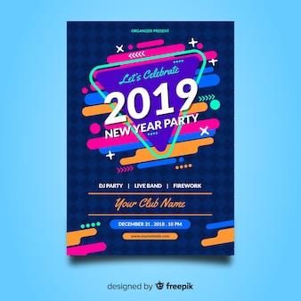 De kleurrijke nieuwe affiche van de jaarpartij met abstract ontwerp