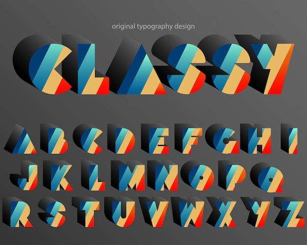 De kleurrijke retro extra gewaagde doopvont van het typografieontwerp