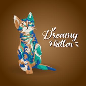 De kleurrijke stijl van de kunstwerkillustratie van leuk katje. logo en pictogramkarakter