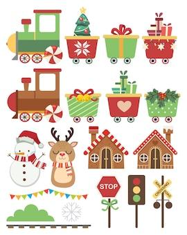 De kleurrijke trein en het element van kerstthema in vlakke stijl.