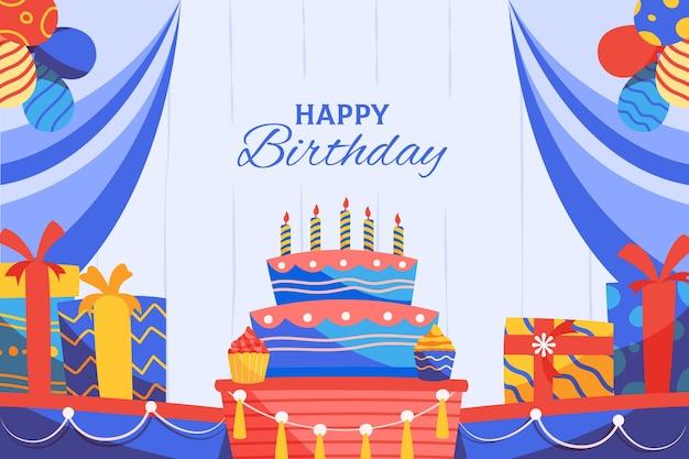De kleurrijke verjaardagsachtergrond met stelt en cake voor