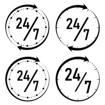 De klok rond, 24/7 servicepictogram, zwart-wit stijl. vector illustratie.