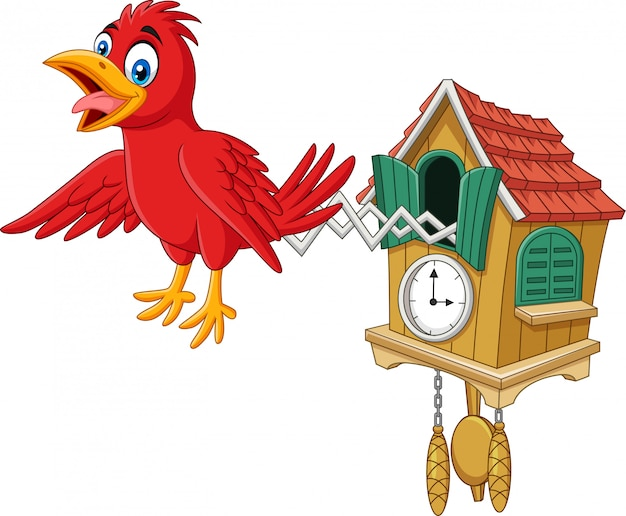 De klok van de koekoek met het rode vogels tjilpen