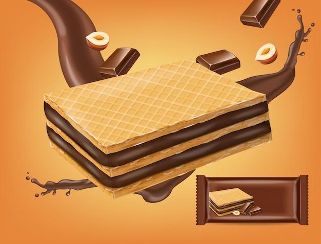 De koekjes van chocoladewafels bespotten omhoog