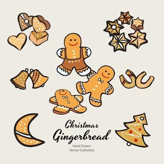 De koekjes van de kerstmispeperkoek geplaatst hand getrokken illustratie. vintage traditionele bak kerst marsepein glazuur koekjes.
