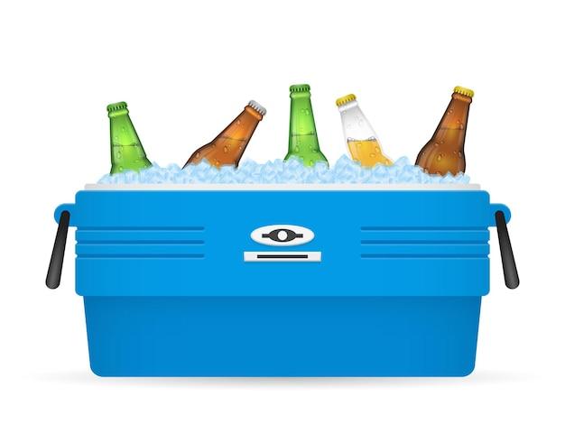 De koeler van het bierijs of de doos van het bierijs op witte illustratie als achtergrond