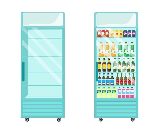 De koelkast-vitrine is leeg en gevuld met drankjes. vector