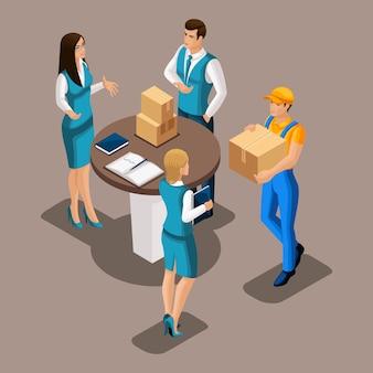 De koerier leverde pakket aan bedrijfsvrouw in bureau, onderzoekt het bankpersoneel doos, illustratie