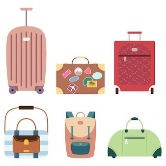 De koffer en de reis doen vectorreeks geïsoleerde pictogrammen van de beeldverhaal vlakke bagage in zakken