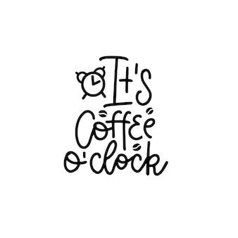 De koffie uur black hand getrokken typografie belettering zin geïsoleerd op het wit