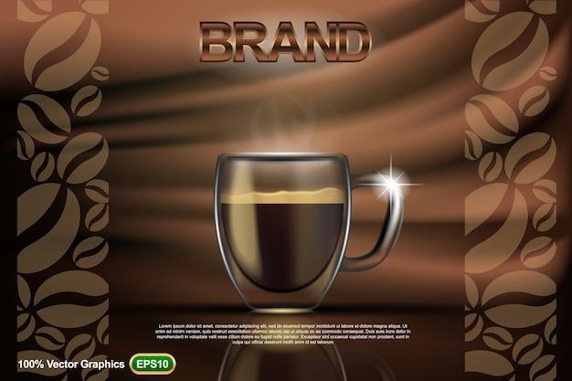 De koffiekop adv, bespot omhoog malplaatje, met abstracte achtergrond in 3d illustratie