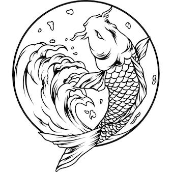 De koi vissen japan silhouet