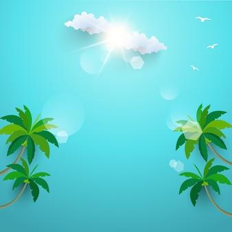 De kokospalmen op het strand. zomervakantie. sjabloon