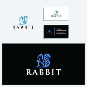 De konijn logo zit en visitekaartje sjabloon